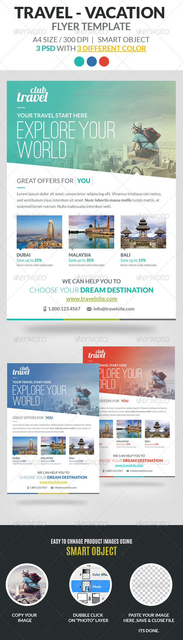 Travel Vacation Flyer Template By Webduck Graphicriver .