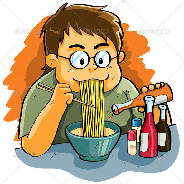 Man Eating Noodles by h4nk  GraphicRiver