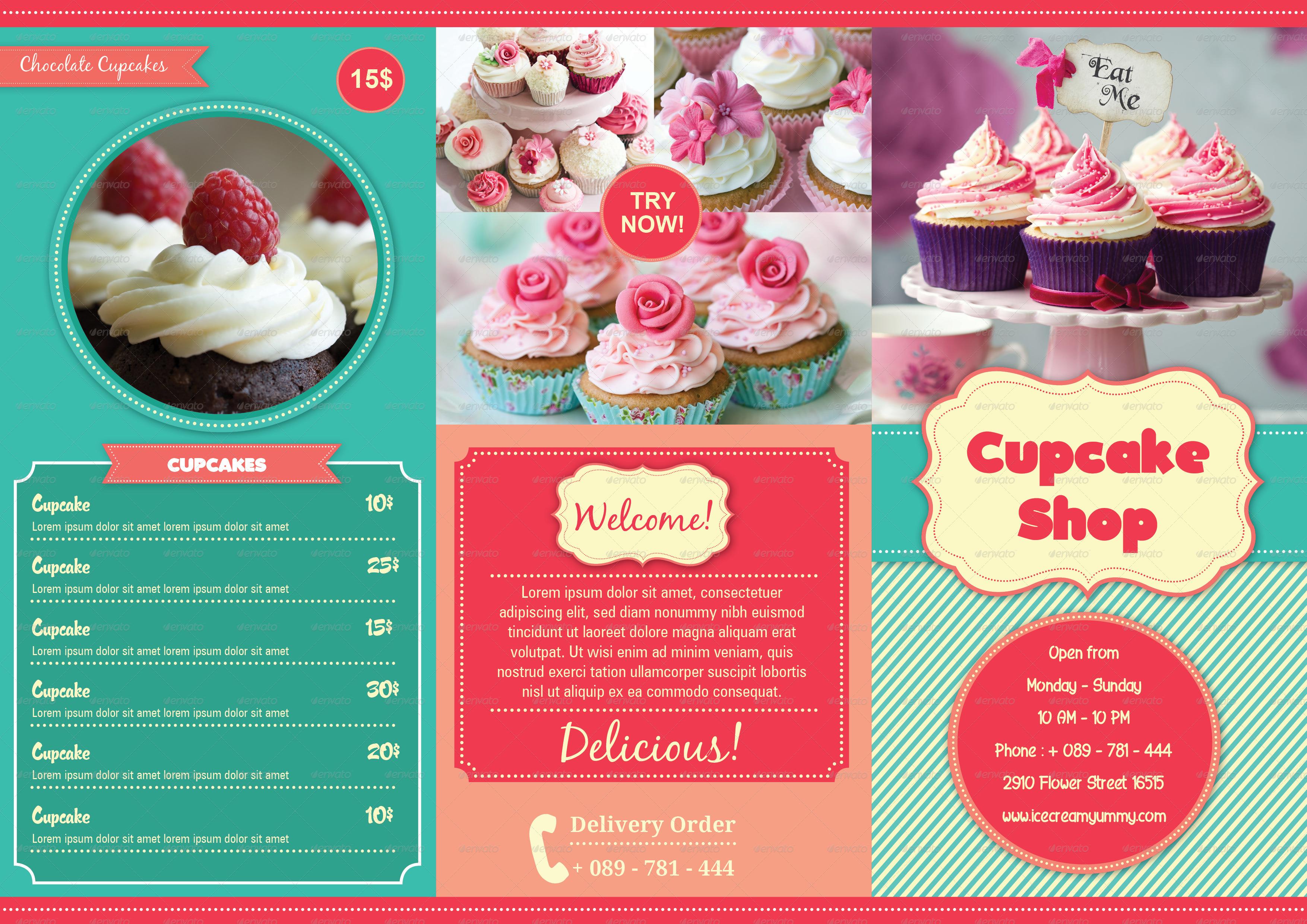 TriFold Cupcakes Menu By Avindaputri GraphicRiver