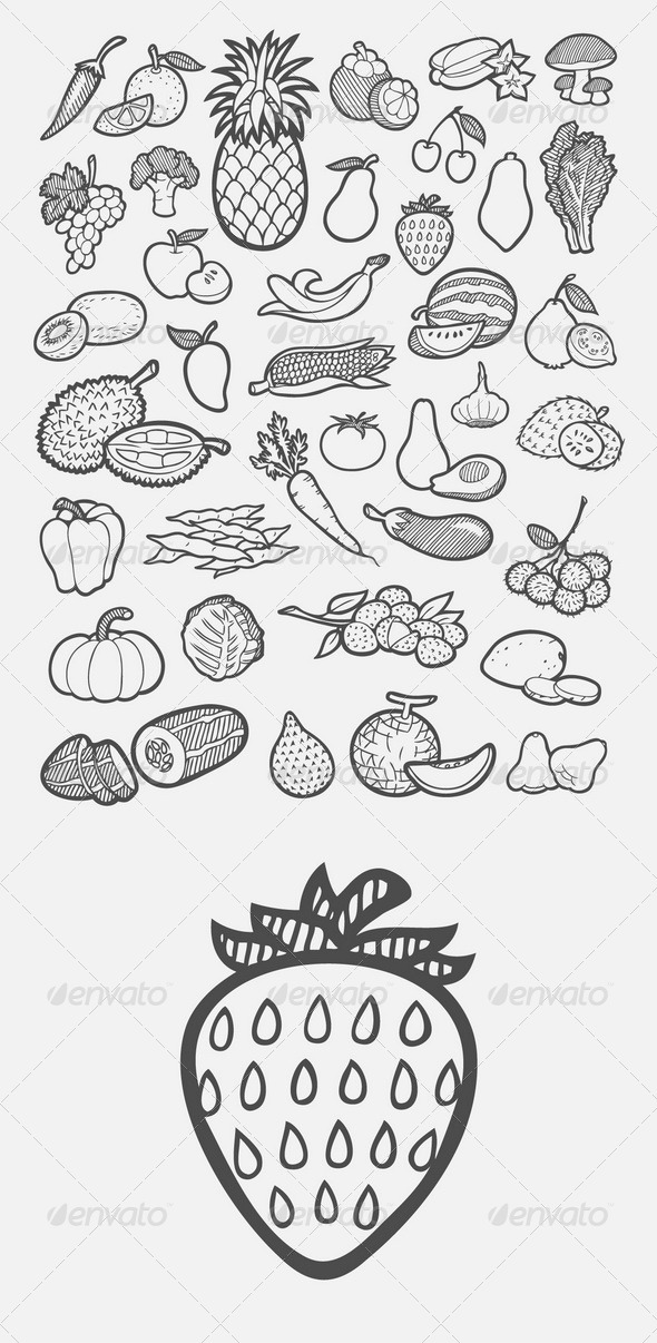 Fruit and Vegetable Icons Sketch by ComicVector703