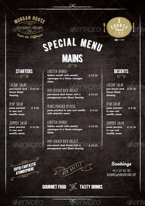 Food Menu  BlackBoard Restaurant Package by marnica