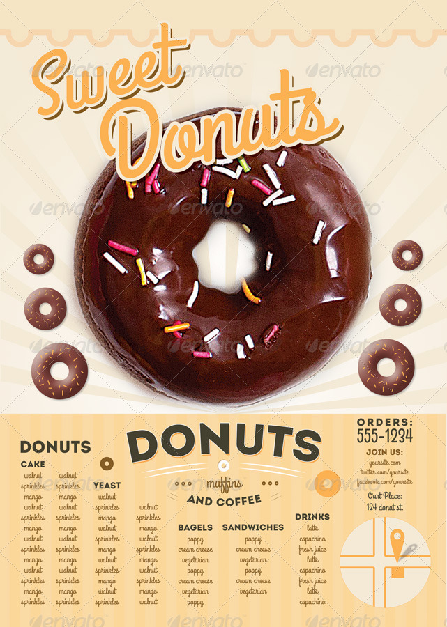 Sweet Donuts Flyer and Menu Template by thefaint  GraphicRiver
