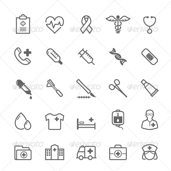 25 Outline Stroke Medical & Health Care Icons by ctrlaplus