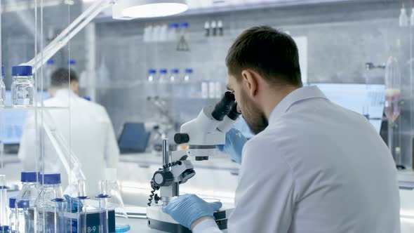Research Scientists Work With Microscope In Laboratory By