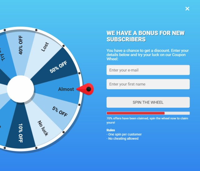 Coupon Wheel For WooCommerce and WordPress 4