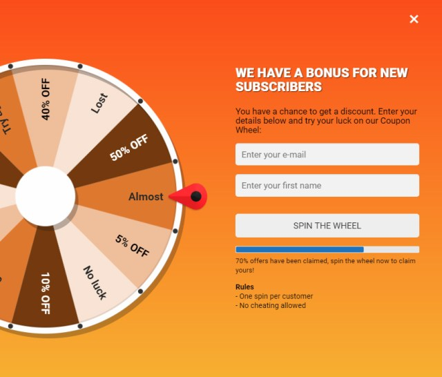 Coupon Wheel For WooCommerce and WordPress 6