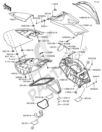Sezionamenti di ricambi Kawasaki JET SKI ULTRA 250X 2008