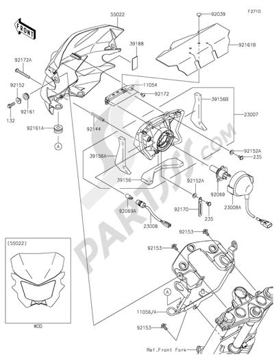 Kawasaki KLX125 2014 Dissassembly sheet. Purchase genuine