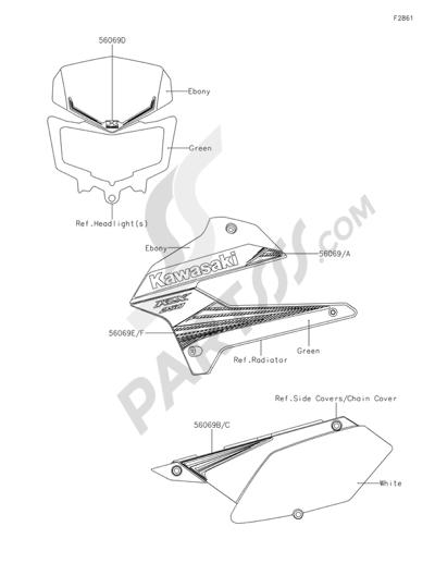 Kawasaki KLX250 2015. 分解図 純正部品をオンライン購入