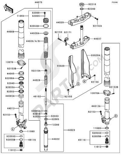 Kawasaki KX125 2005. 分解図 純正部品をオンライン購入