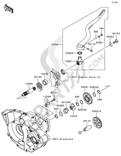 Kawasaki KX250F 2009 Dissassembly sheet. Purchase genuine