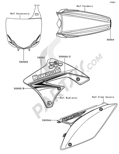 Kawasaki KX250F 2009 Dissassembly sheet. Purchase genuine