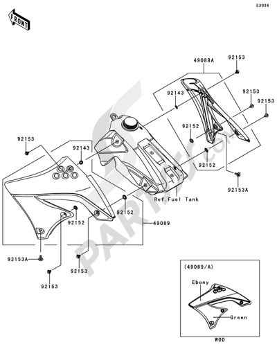 Kawasaki KX450F 2011 Dissassembly sheet. Purchase genuine