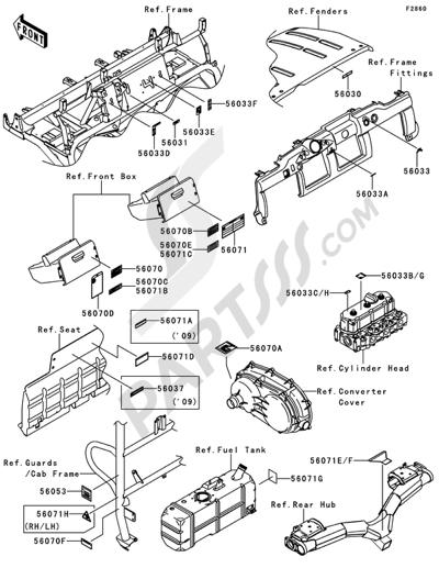 Kawasaki MULE 4010 DIESEL 4X4 2009. 分解図 純正部品をオンライン購入