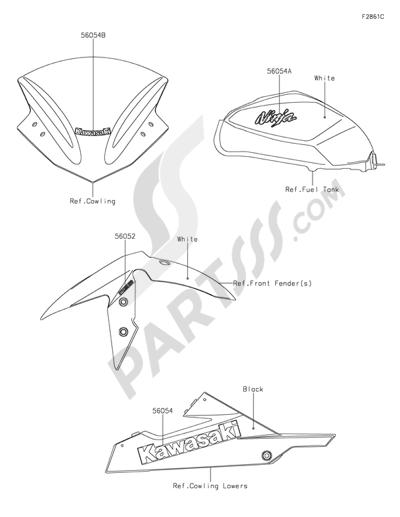 Kawasaki NINJA 300 ABS 2013. 分解図 純正部品をオンライン購入