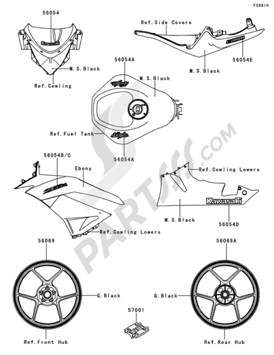 Sezionamenti di ricambi Kawasaki NINJA ZX-6R 2012. Compra