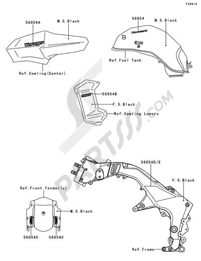 Kawasaki VERSYS 1000 2014 Dissassembly sheet. Purchase