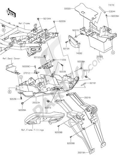 Sezionamenti di ricambi Kawasaki VERSYS 650 ABS 2016