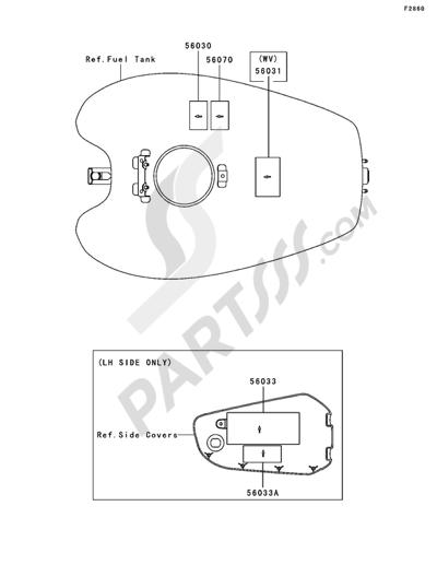 Kawasaki VN1500 MEAN STREAK 2003. 分解図 純正部品をオンライン購入