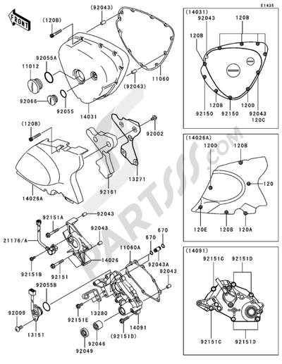 Kawasaki W650 2005. 分解図 純正部品をオンライン購入