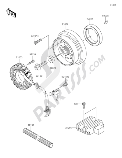 Kawasaki W800 2015. 分解図 純正部品をオンライン購入