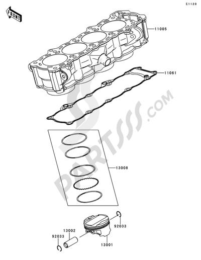 Sezionamenti di ricambi Kawasaki Z1000SX 2011. Compra on