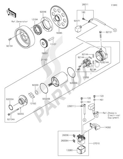 Kawasaki Z1000SX 2014 Dissassembly sheet. Purchase genuine