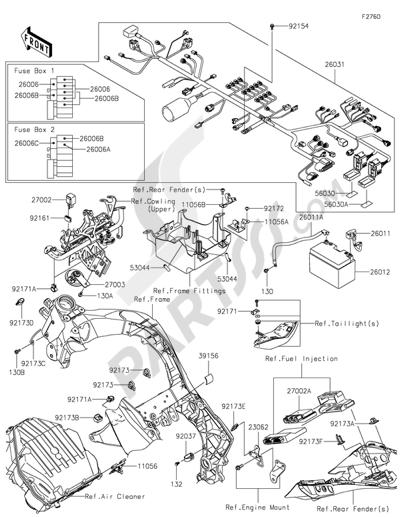 Sezionamenti di ricambi Kawasaki Z1000SX 2016. Compra on