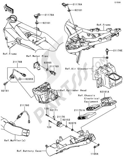 Kawasaki Z750 2008. 分解図 純正部品をオンライン購入