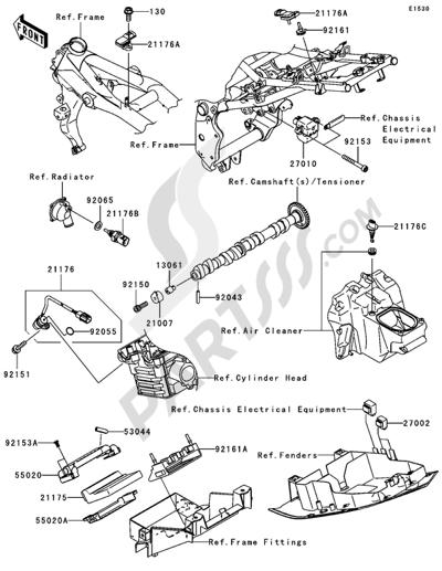 Kawasaki Z750S 2005. 分解図 純正部品をオンライン購入