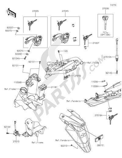 Kawasaki Z800 2016. 分解図 純正部品をオンライン購入