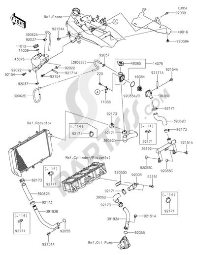 Sezionamenti di ricambi Kawasaki Z800 ABS 2016. Compra on