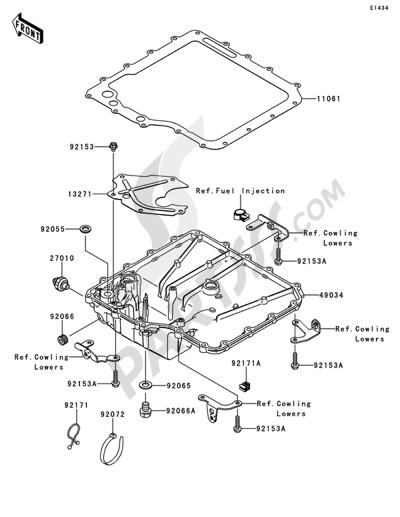Kawasaki ZZR1400 ABS 2010 Dissassembly sheet. Purchase