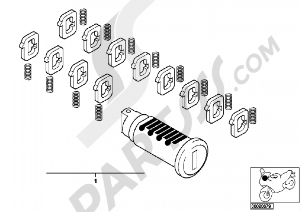 REP.KIT F LOCK CYLINDER Bmw F650CS SCARVER 2003 (K14)