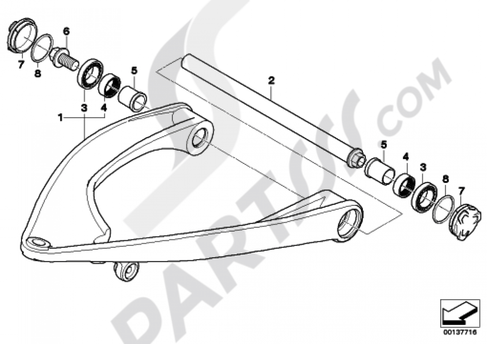 TRAILING ARM Bmw R1200R 2005-2010 (K27)