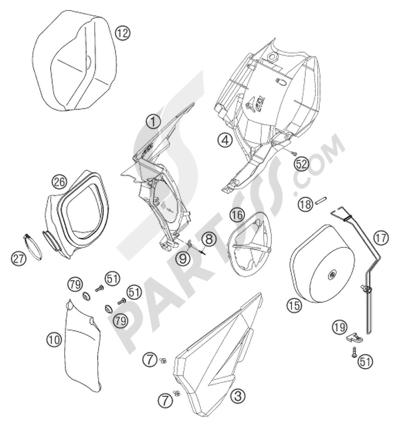 Sezionamenti di ricambi KTM 125 SX 2016 EU. Compra on-line
