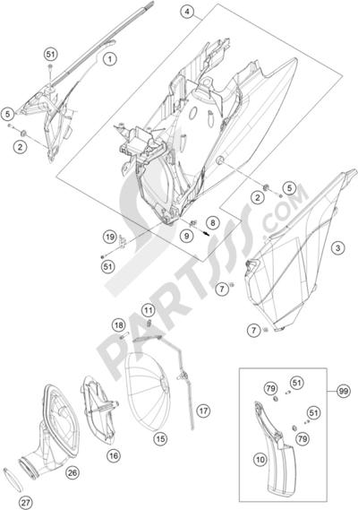 KTM 250 EXC SIX-DAYS 2016 EU. 分解図 純正部品をオンライン購入