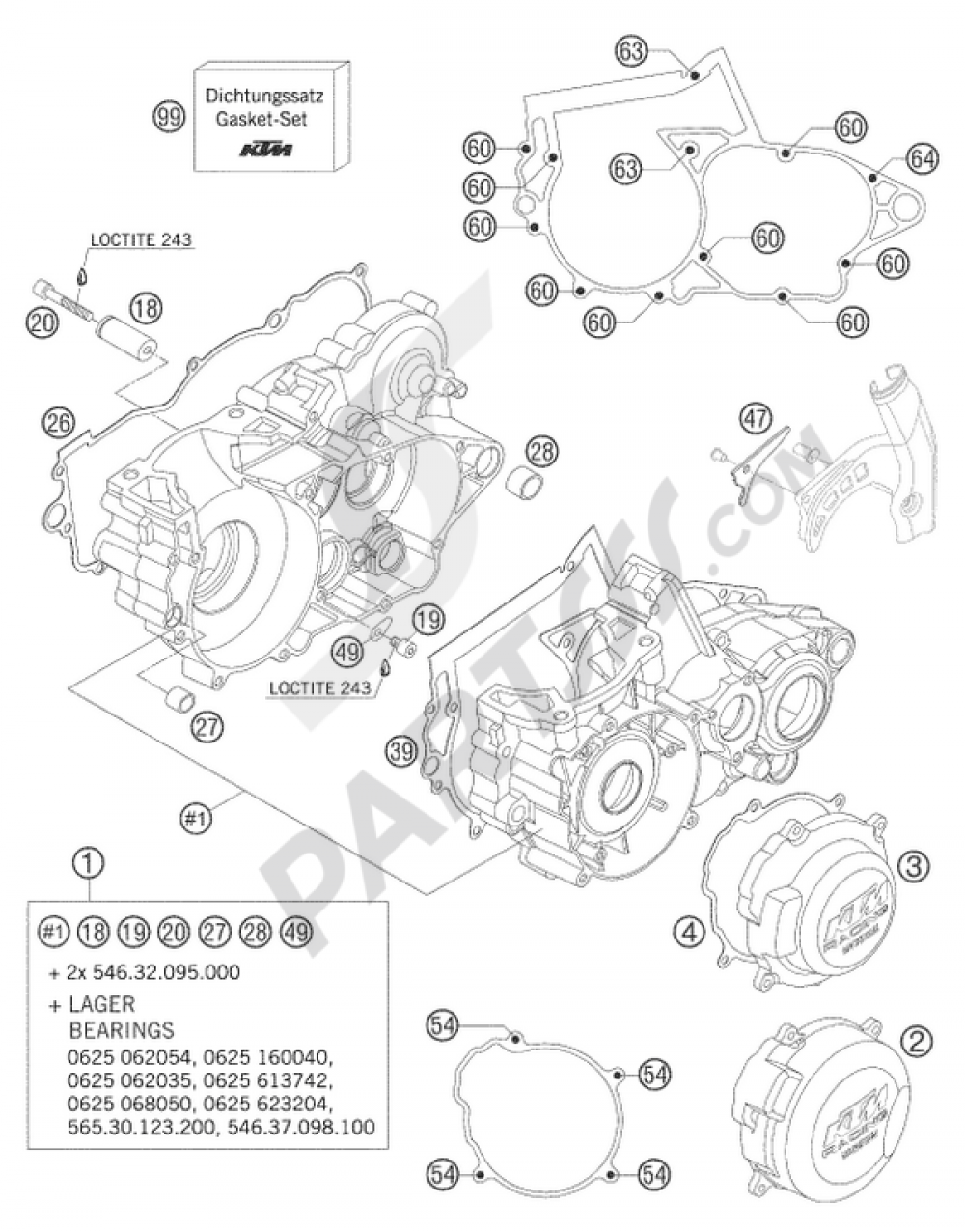 ENGINE CASE 250/300 KTM 250 EXC SIX-DAYS 2004 EU