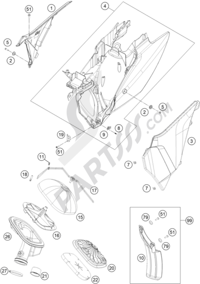KTM 350 EXC-F FACTORY EDITION 2015 EU Dissassembly sheet
