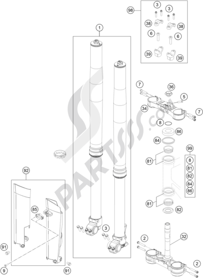 KTM 350 EXC-F FACTORY EDITION 2015 EU Dissassembly sheet