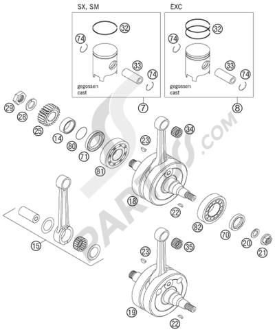 KTM 125 EXC 2008 EU. 分解図 純正部品をオンライン購入