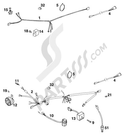 Sezionamenti di ricambi KTM 300 EXC 1998 EU. Compra on