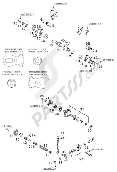 KTM 300 EXC 2001 EU Dissassembly sheet. Purchase genuine