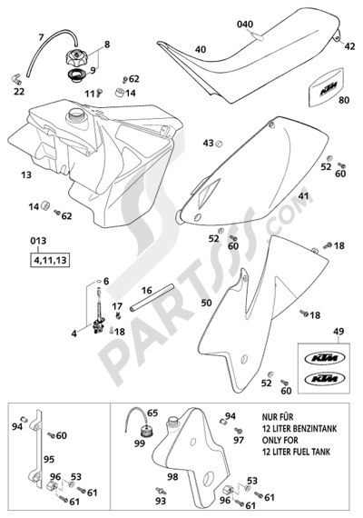 KTM 300 EXC 2001 EU Dissassembly sheet. Purchase genuine