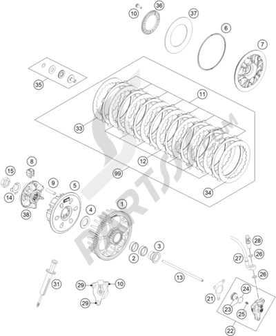 KTM 500 EXC 2014 EU Dissassembly sheet. Purchase genuine