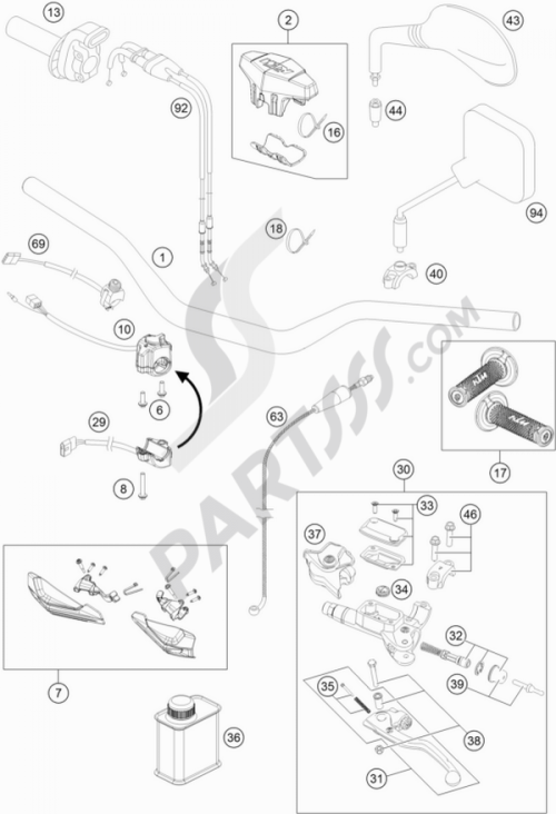 small resolution of ktm motorcycle500 exc six days handlebar controls 1000 png