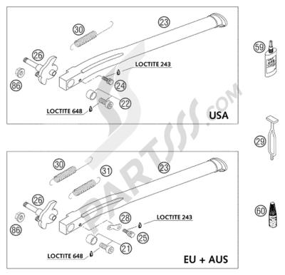 KTM 525 MXC DESERT RACING 2004 EU. 分解図 純正部品をオンライン購入