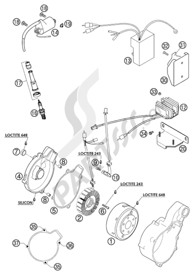 KTM 640 ADVENTURE-R 2002 EU Dissassembly sheet. Purchase