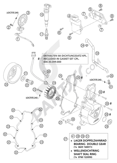 KTM 950 ADVENTURE ORANGE LOW 2004 EU Dissassembly sheet