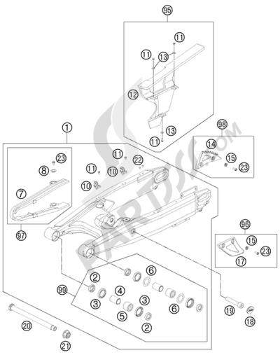 KTM 990 ADVENTURE ORANGE ABS 2007 EU. 分解図 純正部品をオンライン購入